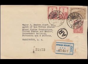 Mexiko: Einschreiben der USA-Mexiko-Kommission mit Siegelmarken 2.8.1926