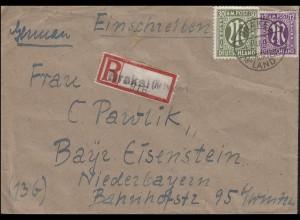 Not-R-Zettel Brakel auf R-Brief mit AM-Post-MiF BRAKEL LAND Kr. Höxler 4.2.46