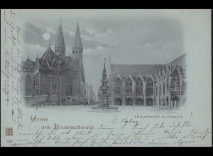 AK Gruss aus Braunschweig Altstadtmarkt mit Brunnen 16.8.1898 nach Gelsenkirchen
