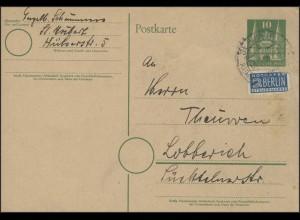 Postkarte P2 I Holstentor 10 Pf mit Notopfer St. Hubert/Kempen 4.12.1950