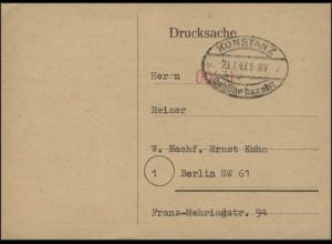 Gebühr-Bezahlt-Stempel Drucksache Konstanz 23.7.47 nach Berlin