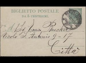 Italien Kartenbrief ohne Rand K 11 als Ortbrief GENOVA-FERROVIA 18.11.1912
