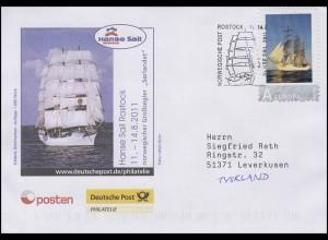 Hanse Sail Rostock, Auflage 1000! Schiffspost-SSt Norwegische Post Rostock 2011