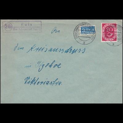 Landpost-Stempel Puls über HOHENWESTEDT (HOLST) 28.11.53 auf Brief nach Itzehoe