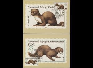 2677-80 Leipziger Rauchwarenauktion 1982 - Satz auf Wermsdorf-Maximumkarten