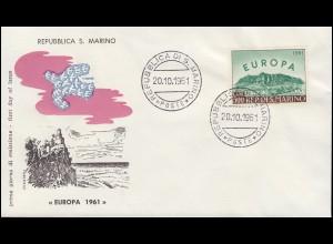 San Marino 700 CEPT Europa-Marke auf Schmuck-FDC 20.10.1961
