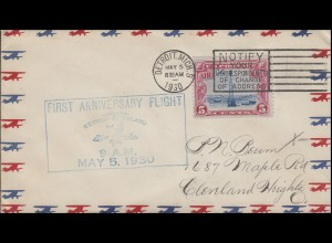 Erstflug Bordstempel Detroit - Cleveland 5.5.1930, EF auf Brief Detroit 5.5.30