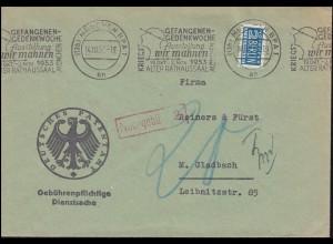 Gebührenpflichtige Dienstsache Patentamt MÜNCHEN Gefangenengedenkwoche 14.10.53