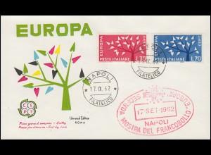 Italien 1113-1114 Europa / CEPT 1962 auf Schmuck-FDC Neapel / Napoli 17.9.62