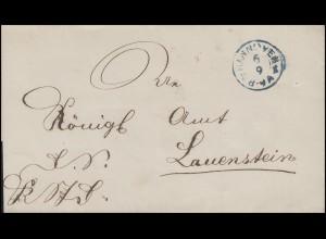 Hannover Dienstpost Briefhülle Zweikreis-O HANNOVER B K 6.9. nach Lauenstein