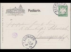 Bayern Privatpostkarte PP 1 Sportausstellung 1899, passender SSt MÜNCHEN 6.9.99