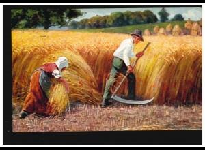 Künstler-AK Schnitter und Bäuerin bei der Getreideernte, ZWICKAU (SACHSEN) 1913