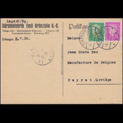 Firmenlochung E8F auf Ebert-Hindenburg-Marken MiF auf Karte ERLANGEN 8.7.32