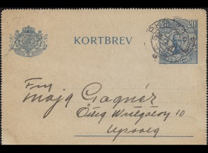 Bahnpost Schweden Kartenbrief-Vorderseite K 19 zu 20 Öre PKP 290 - 25.2.(1918?)