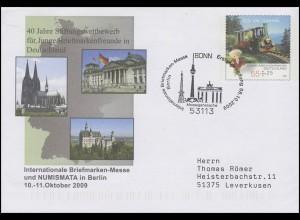 USo 191 Messe Berlin & Sandmännchen, FDC Erstverwendung Bonn Fernsehturm 8.10.09
