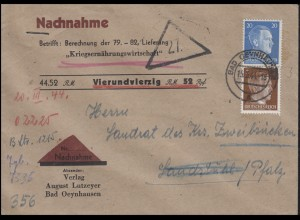 Hitler-MiF 20+3 Pf Nachnahmebrief Verlag Lutzeyer BAD OEYNHAUSEN 15.3.44