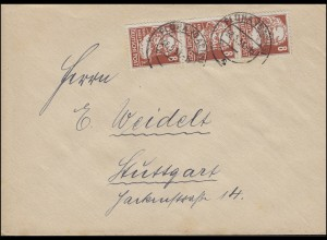 214 Karl Marx senkr. 3er-Streifen MeF Brief FLÖHA (SACHSEN) 28.5.51 n. Stuttgart