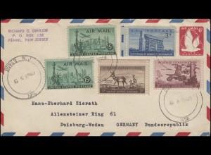 USA-Umschlag Seeadler 6 C. rot mit Zusatzfr. von DOVER N.Y. 6.8.1956 n. Duisburg