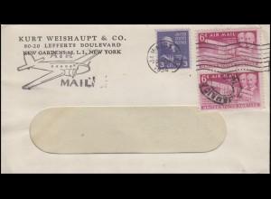 Luftpost-Brief Propellerflugzeug JAMAICA N.Y. 1954 Fensterbriefumschlag mit MiF