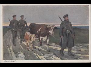 Feldpost S.B. I. B.L.J.R. 84 auf AK Requisition Soldaten mit Kühen, 16.11.16