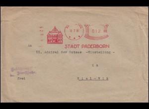 AFS Stadt Paderborn 30.7.35 Rathaus / BS Polizeibehörde, Brief nach Kiel-Wik