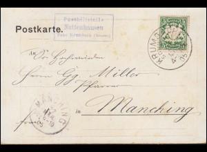 Bayern Posthilfstelle Nattenhausen über Taxe KRUMBACH 21.3.05 n. MANCHING 22.3.