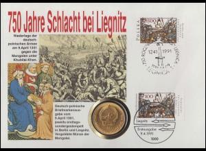 Bund 750 Jahre Schlacht bei Liegnitz: Numisbrief mit Polen als FDC, ESSt Berlin