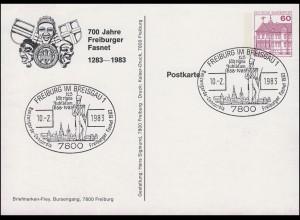 Privatpostkarte PP 106 Freiburger Fasnet SSt FREIBURG / BREISGAU 10.2.1983