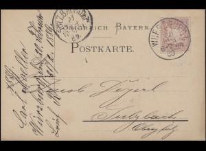 Bayern 5 Pf. Wappen, EF Postkarte WÜRZBURG I. - 20.2.89 nach SULZBACH 21.2.89