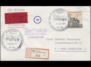 DDR 3123 Ernst-Thälmann-Denkmal, EF R-Eil-Bf. SSt Riesa Ferneisenbahn 8.4.1989