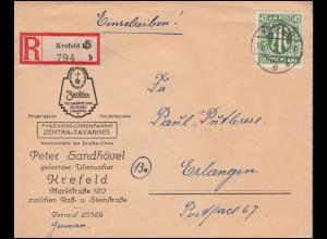 31 AM-Post 42 Pf. als EF auf R-Brief KREFELD 5 - 18.1.1946 nach ERLANGEN 23.1.46