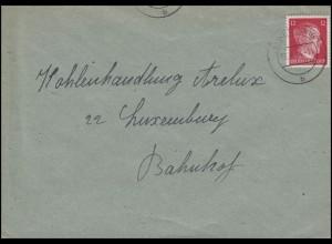 Freimarke Hitler 12 Pf rot EF Orts-Brief Kohlenhandlung Arelux LUXEMBURG 3.8.44