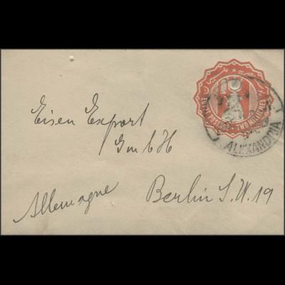 Ägypten: Ganszache Umschlag 2 Mill. orangerot, Alexandria ca. 1900 nach Berlin