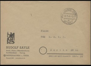 Gebühr-Bezahlt Brief Mühlhausen/Thüringen 22.2.46 nach Berlin