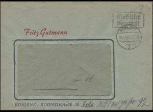 Gebühr-Bezahlt Fensterbrief Koblenz 30.10.45