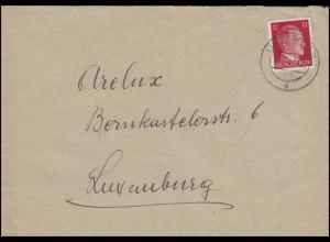 Freimarke Hitler 12 Pf rot EF Orts-Brief Kohlenhandlung Arelux LUXEMBURG 27.5.43