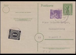 Postkarte P 3d mit Zusatzfrankatur Deutscher Verlag MiF BERLIN-TEMPELHOF 30.3.46
