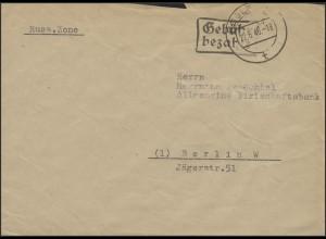 Gebühr-Bezahlt-Stempel Brief Koblenz 22.6.46 nach Berlin