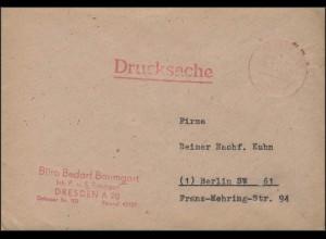 Gebühr-Bezahlt-Stempel Drucksache Dresden 26.7.47 nach Berlin