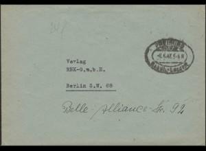 Gebühr-Bezahlt-Stempel Brief Freiburg/Breisgau 8.6.47 nach Berlin