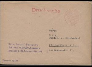 Gebühr-Bezahlt-Stempel Drucksache Dresden 8.8.47 nach Berlin