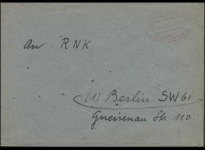 Gebühr-Bezahlt-Stempel Brief Wuppertal-Cronenberg 31.5.46 nach Berlin