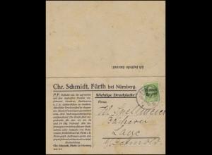 Bayern 5 Pf. Ludwig / Freistaat Drucksache mit Anwort Backwaren FÜRTH 10.9.19