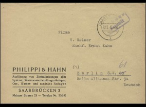 Gebühr-Bezahlt-Stempel Brief Saarbrücken 12.2.46 nach Berlin