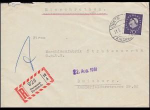 306 Heuss 70 Pf als EF auf R-Brief DORTMUND-KIRCHHÖRDE 21.6.61 nach Duisburg