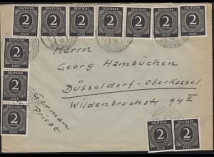 912 Ziffer 2 Pf 12mal MeF Brief FRANKFURT-ESCHERSHEIM 1947 n. Düsseldorf
