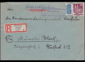 Landpost-Stempel Rumbeck über Arnsberg (Westf.) R-Brief 29.3.1952 nach Münster