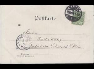 Ansichtskarte Ländliche Brautwerbung, HAGEN 17.12.1898 n. NIEDERBIEBER 18.12.98