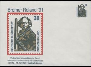 PU 322 SWK 38 Pf Ausstellung Bremer Roland'91, ** postfrisch