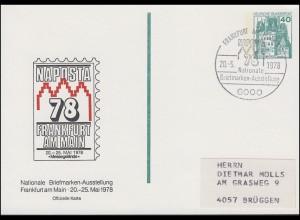 Privatpostkarte PP 100 Ausstellung NAPOSTA 78 SSt FRANKFURT / MAIN 20.5.1978